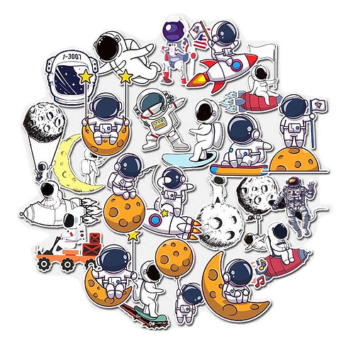24 Pcs Cute Astronaut Luggage Stickers Space Travel Phone Case Stickers Guitar F