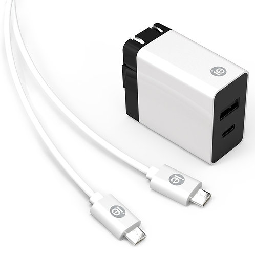 iEssentials IEN-ACC-31A1C 3.4-Amp 2-Port USB and USB-C Wall Charger