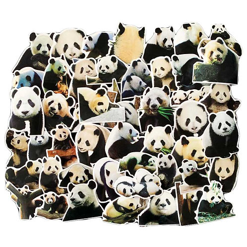 50 Pcs Lovely Panda Stickers Luggage Decoration Stickers Skateboard Guitar Phone