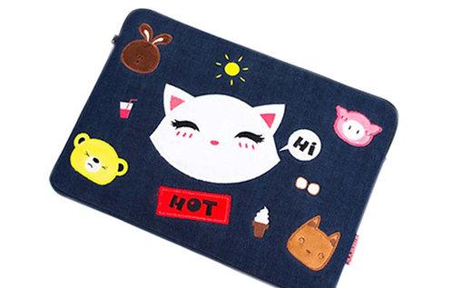 Cat Pattern Laptop Bag Cute Liner Package Zipper Handbag Funky Laptop Sleeves
