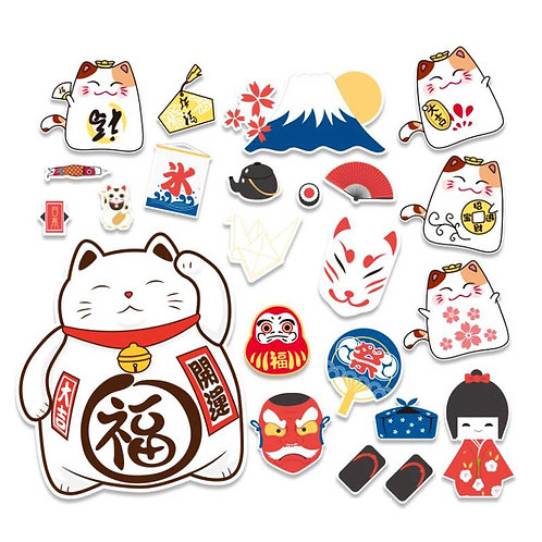 23 Pcs Lucky Cat Sticker Japanese Style Cartoon Sticker Luggage Helmet Laptop De
