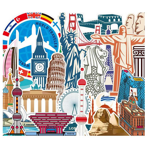 23 Pcs Travel Around the World's Famous Architectural Landmarks Stickers Laptop