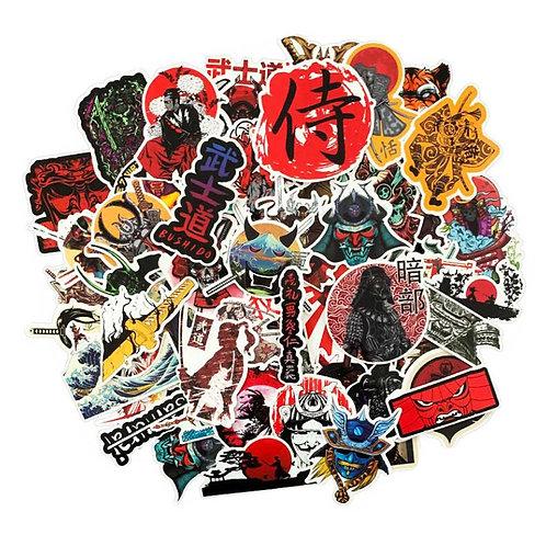 65 Pcs Japanese Bushido Stickers Luggage Decoration Stickers Skateboard Guitar P