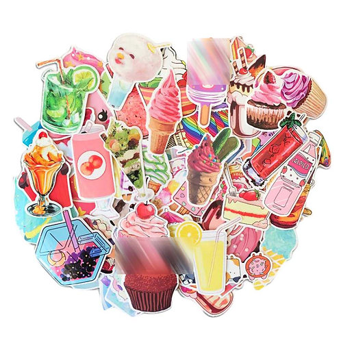 70 Pcs Stickers Colorful Summer Ice Cream Dessert Decal Stickers Waterproof Stic