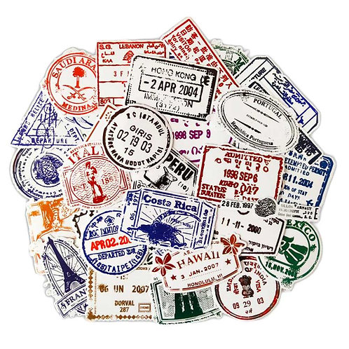 50 Pcs Transparent Stickers Retro Style Postmark Stickers Vinyl Waterproof Decal