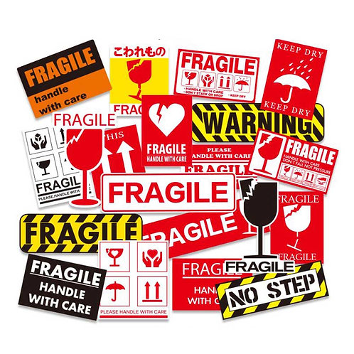 20 Pcs Anti-collision Fragile Warning Signs Sticker Luggage Decoration Stickers