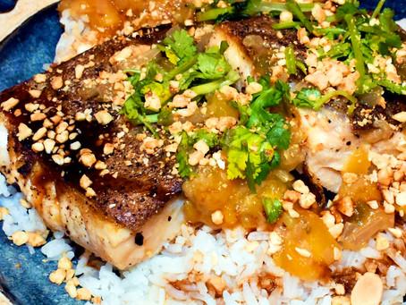 Seared Arctic Char w/ Warm Mango-Lime Salsa, Cayenne Spiced Peanuts & Japanese Style BBQ Sauce