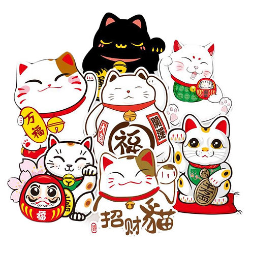 7 Pcs Japanese-style Lucky Cat Cartoon Suitcase Stickers Refrigerator Guitar Lap