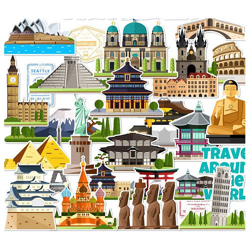 25 Pcs Stickers Retro Travel Famous Scenic Spots and Historical Sites Decal Stic