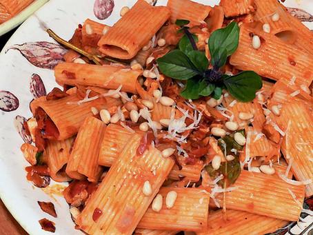 Rigatoni Pasta with Red Pepper and Artichoke Heart and Pesto Flavors