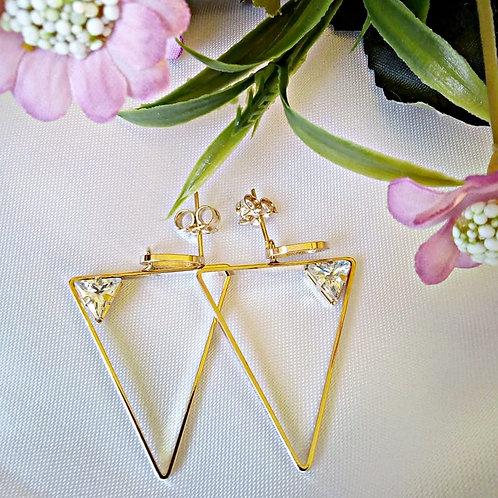 Brincos Triângulo com Pedra
