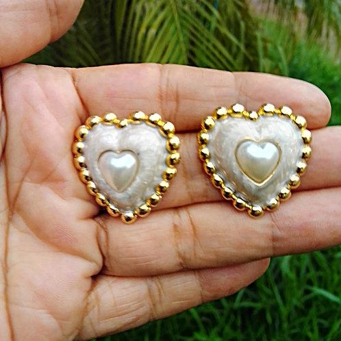 Brincos Coração Esmaltados Banhados com Garantia
