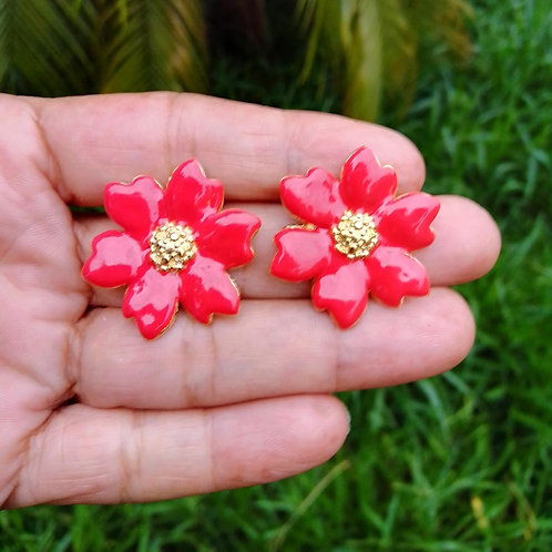 Brincos Flor Esmaltados Banhados com Garantia