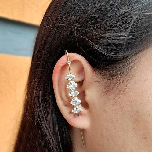 Brinco Ear Pin Pedras Zircônia (Unitário)