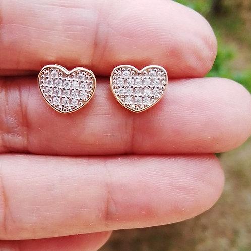 Brincos Pequenos Coração Cravejado
