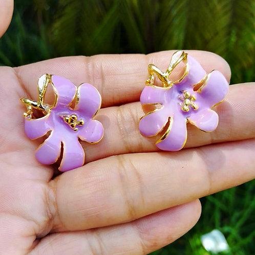 Brincos Orquídea Resinados Banhados com Garantia