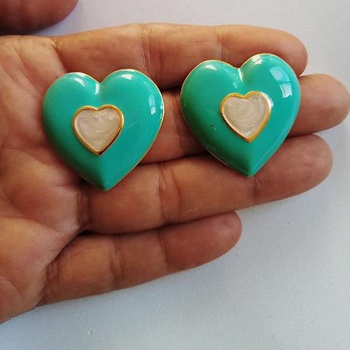 Brincos Coração Resinados Banhados com Garantia