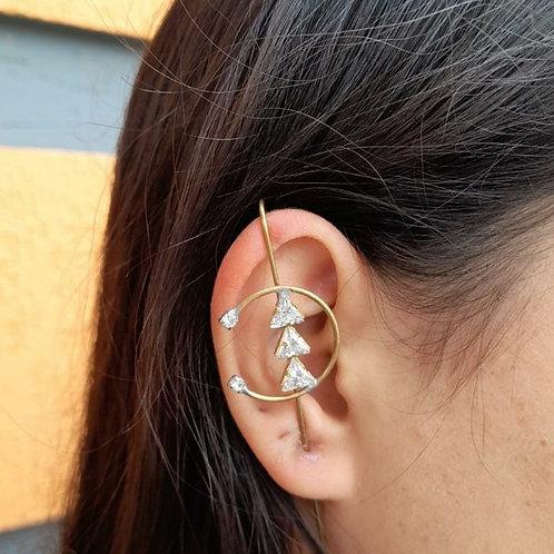 Brinco Ear Pin Triângulos em Círculo (UNITÁRIO)