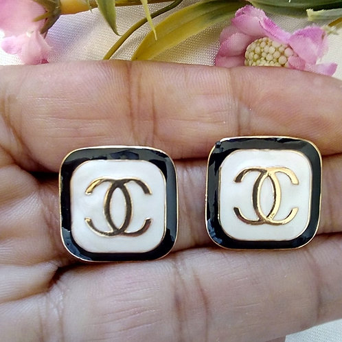 Brincos Quadrado Estilo Chanel Resinados