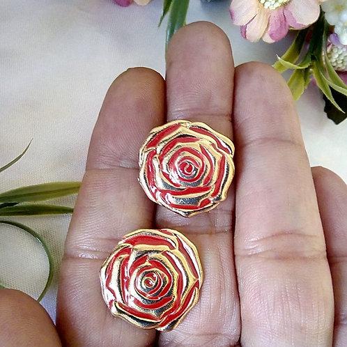 Brincos Rosa Flor Resinados