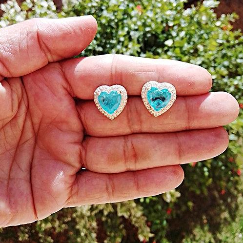 Brincos Coração Cravejado Microzircônia