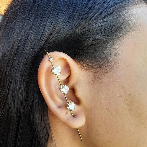 Brinco Ear Pin Corações Cristal (UNITÁRIO)