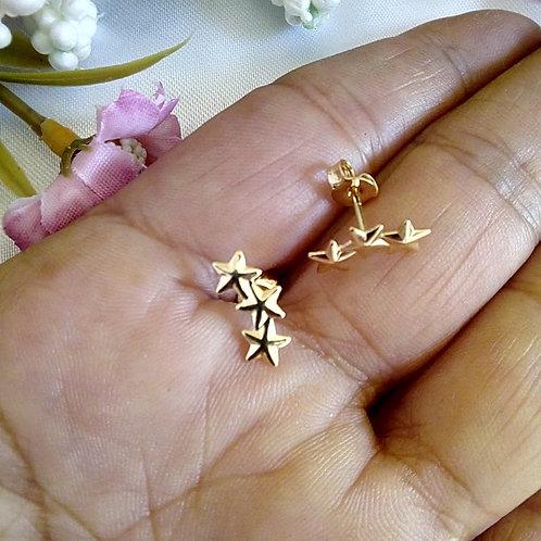 Brincos Pequenos Três Estrelas