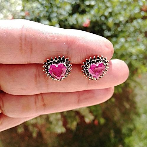 Brincos Coração com Pedras