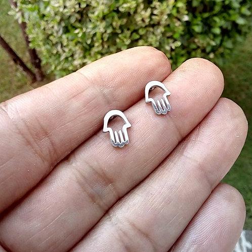 Brincos Pequenos Mão de Fátima Aço Inox
