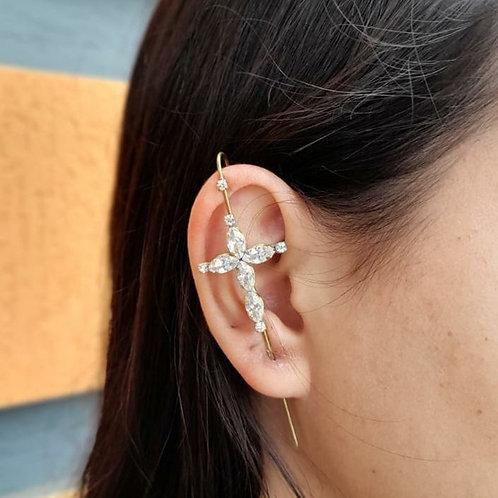 Brincos Ear Pin Crucifixo (PAR)