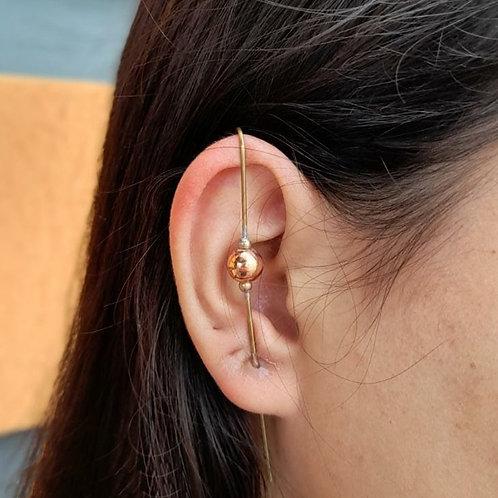 Brincos Ear Pin Bola Gold (PAR)