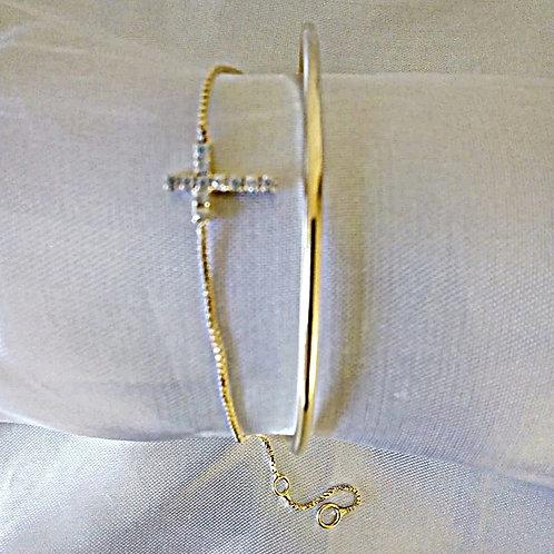 Bracelete com Extensor Pulseira Crucifixo