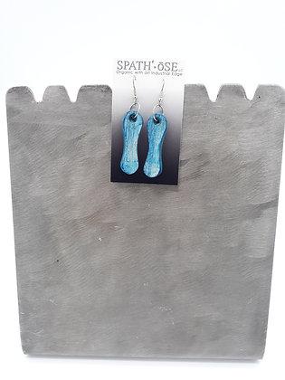 Spathe Pendant Earrings Distressed Aqua