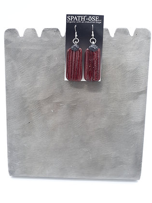 Spathe Pendant Earrings Distressed Red