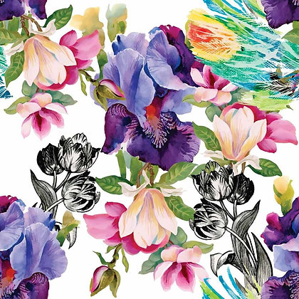 DB Rice Paper - Colourful Floral with Black & White