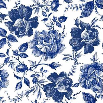 DB Rice Paper - Blue Sketched Flowers