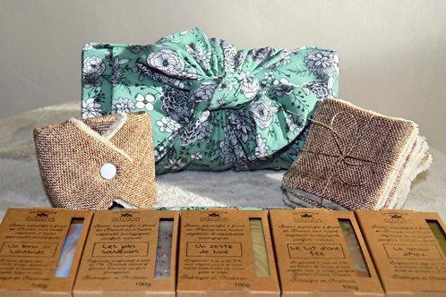 Maxi coffret zéro déchets furoshiki vert ou bleu 5 savons + accessoires