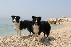 Joyce and Lucy on the beach in Split