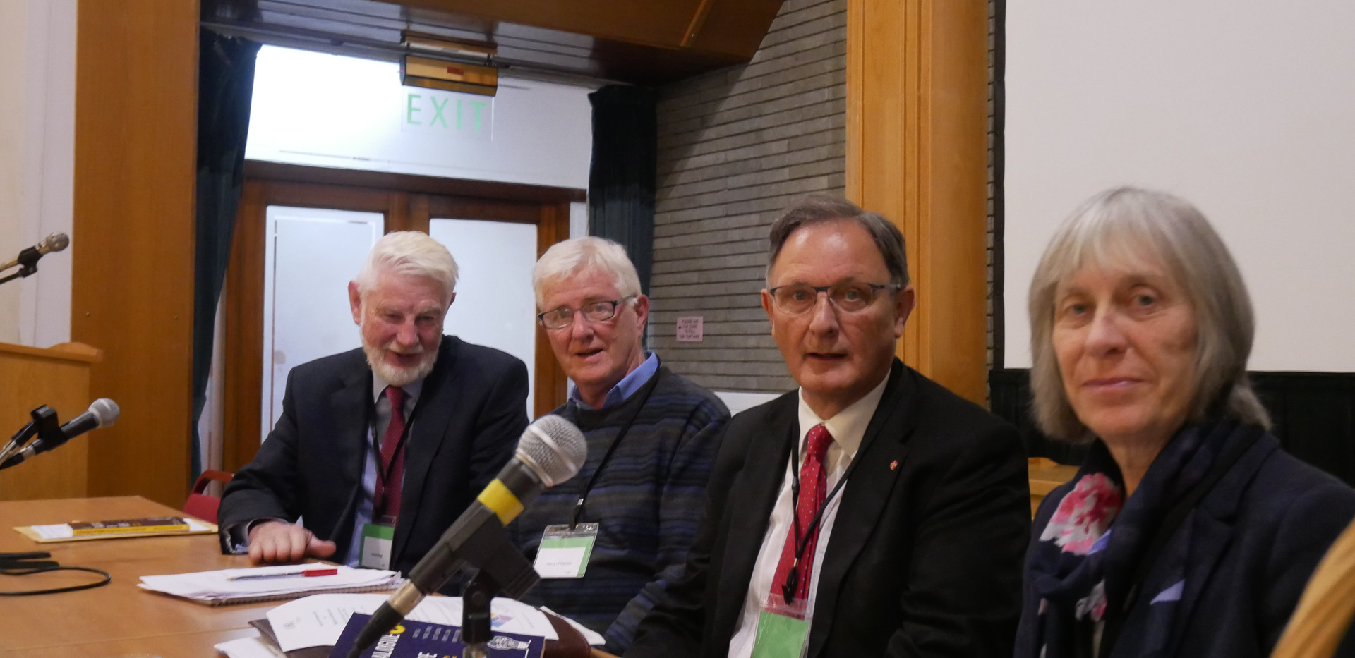 L-R: David Begg, Gerry O'Hanlon SJ, Fergus O'Ferrall & Iseult Honohan, four of the authors of A Dialogue of Hope: Critical Thinking for Critical Times
