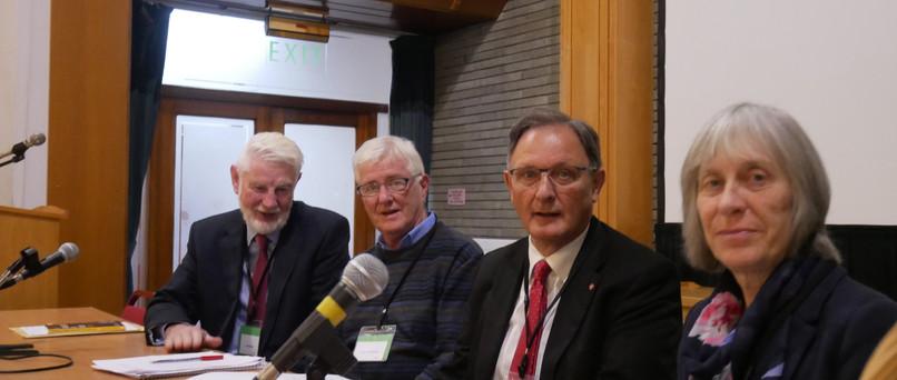 L-R: David Begg, Gerry O'Hanlon SJ, Fergus O'Ferrall & Iseult Honohan, four of the authors of A Dialogue of Hope: Critical Thinking for Critical Times