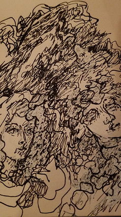 """4"""" X 6"""" ink and pencil on paper"""