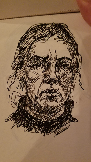 "4"" X 6"" self portrait ink on paper"
