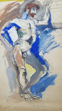 """24"""" X 36"""" Mark di Suvero watercolor"""