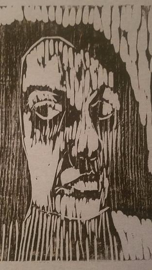 "8"" X 10"" Self Portrait Linoleum Block Print"