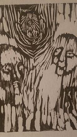 "8"" X 10"" Linoleum Block Print"