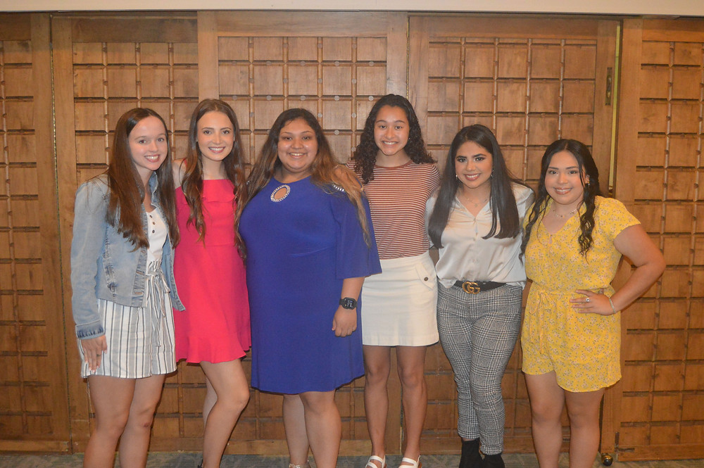 The Coalition awarded six Drug-Free All Stars with scholarships for their outstanding service and commitment to a drug, alcohol and tobacco-free life. From left to right: Emma Airington, sponsored by Whataburger/GVCS; Madilyn Simmons, sponsored by Southside Bank and Southwood Drive Animal Clinic; Dulce Velasquez, sponsored by KSWP/KAVX and Contractor's Supplies, Inc.; Jazmine Jamison, sponsored by Charanza Law Firm; Julissa Montoya, sponsored by East Texas Asphalt; and Natalie Lopez, sponsored by Carroway Funeral Home and Morgan Insurance/Bartlett, Baggett and Shands.