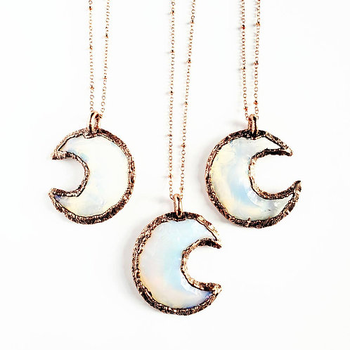 Opalite Crystal Crescent Moon Necklace
