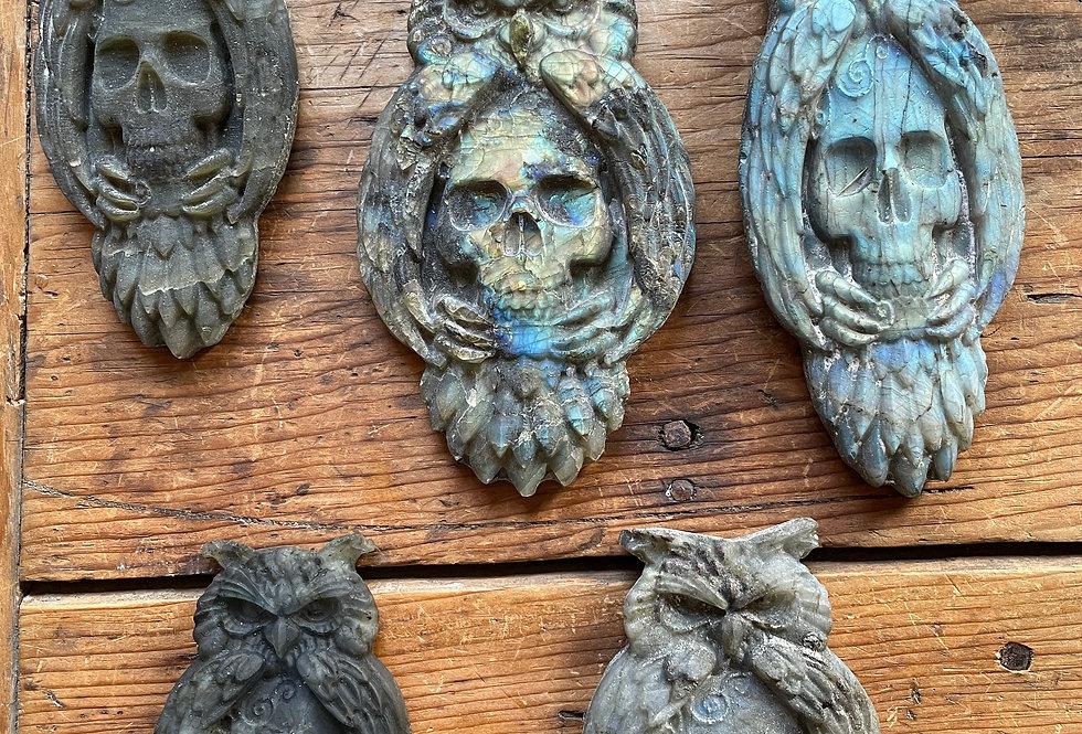 Labradorite Owl / Skull Talismans