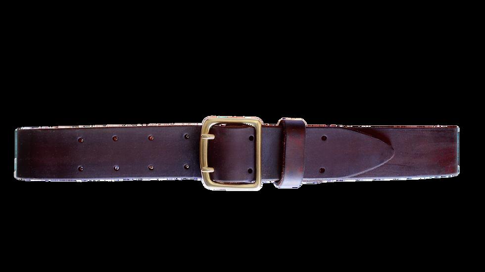 Ledergürtel mit Doppeldornschnalle / schokoladenbraun