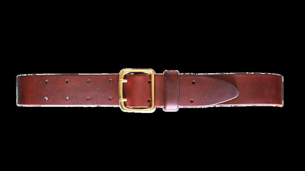 Ledergürtel mit Doppeldornschnalle / saddle tan